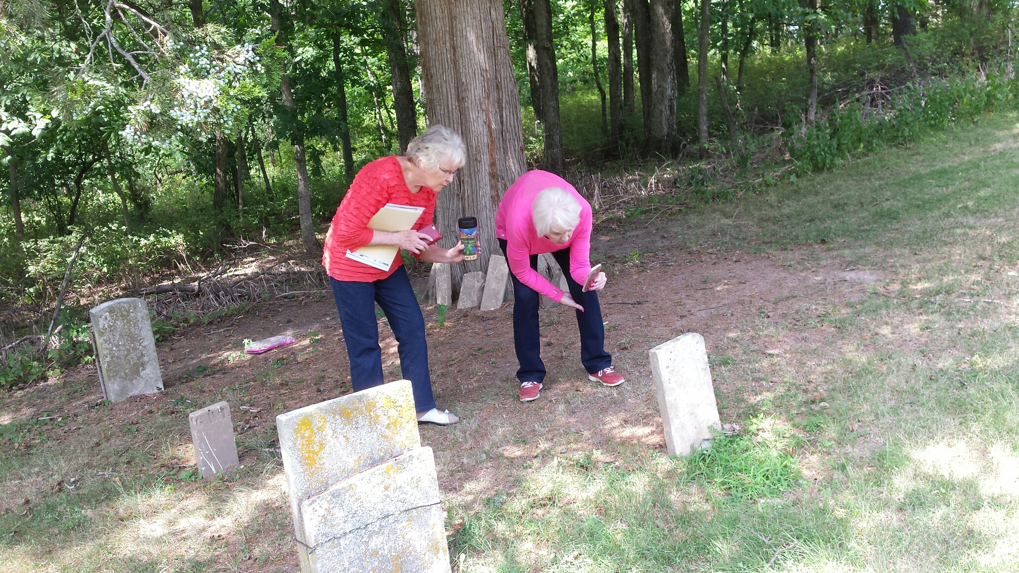 Reta and Myrna at Franks Cemetery, Richfield Illinois